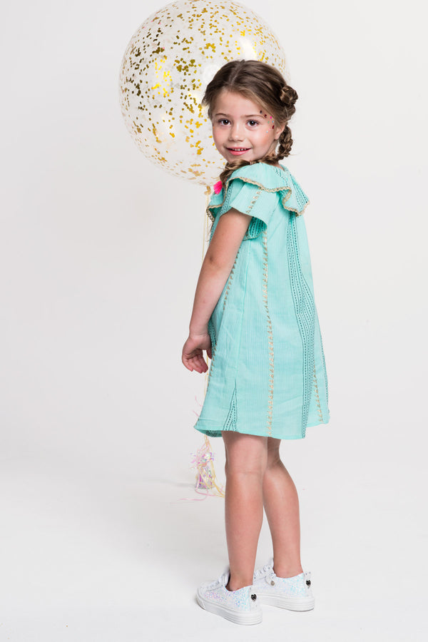 PRE-ORDER SS19 Mim-Pi Girls Green & Gold Thread Dress 223