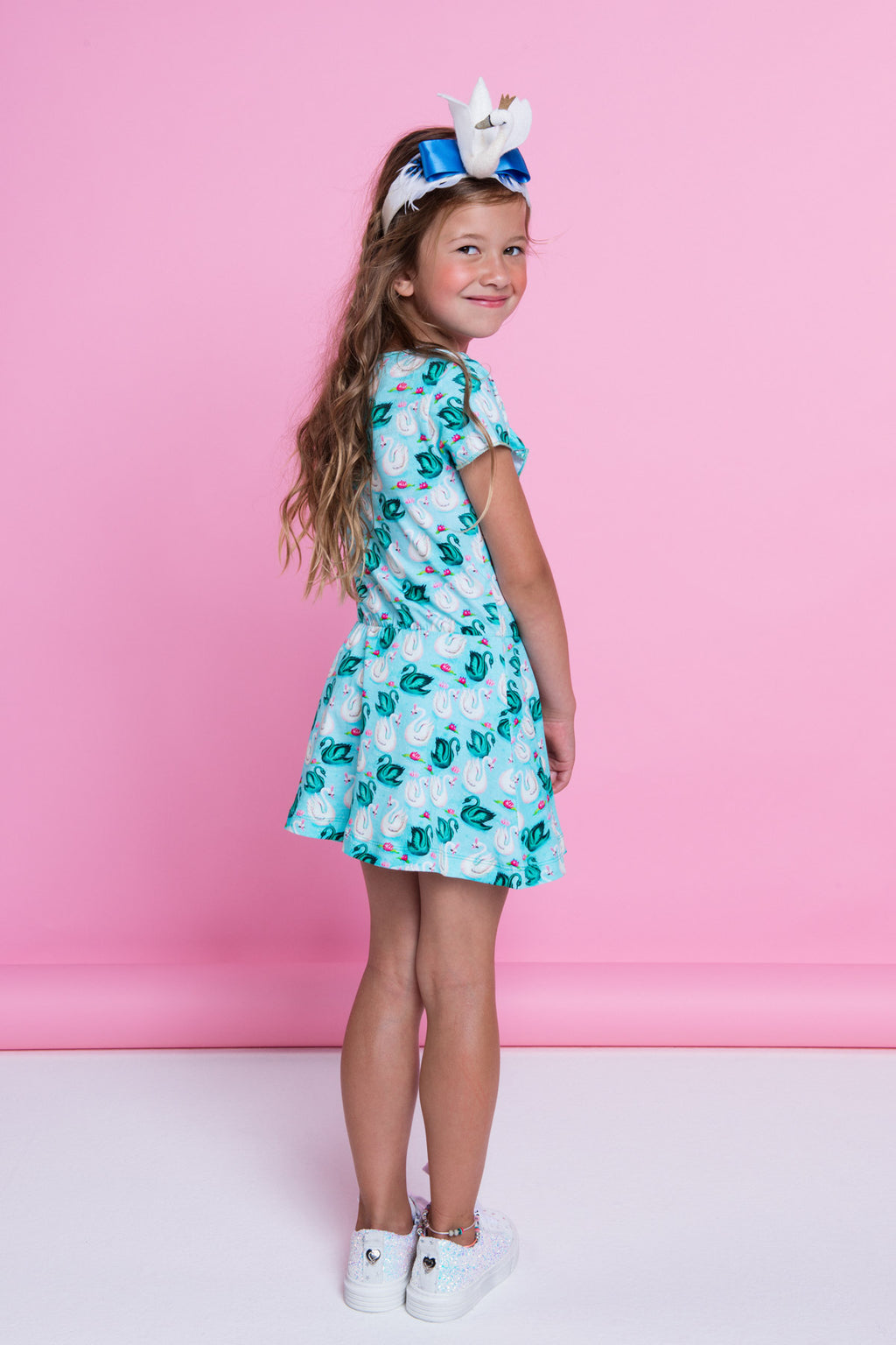 SS19 Mim-Pi Girls Green Swan Dress 294
