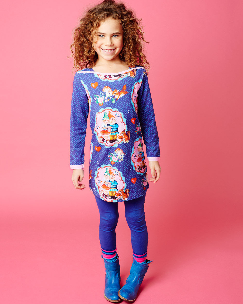 AW17 Mim-Pi Girls Blue Gnome Dress 632 - Liquorice Kids