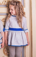AW15 Dolce Petit Girls Spotted White, Blue & Light Grey Dress 2228/V - Liquorice Kids