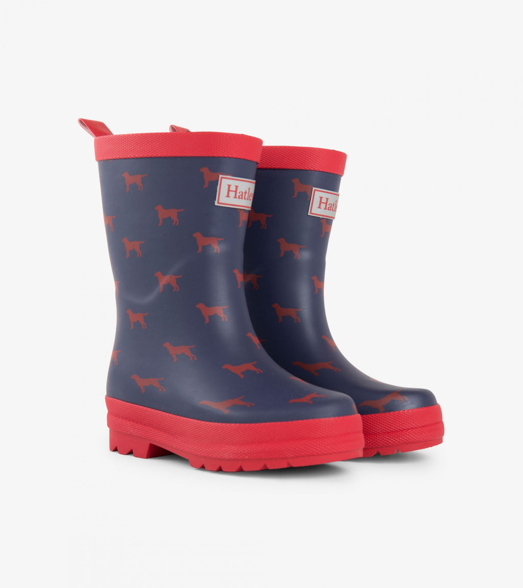 AW18 Hatley Boys Navy Blue & Red Labs Wellies