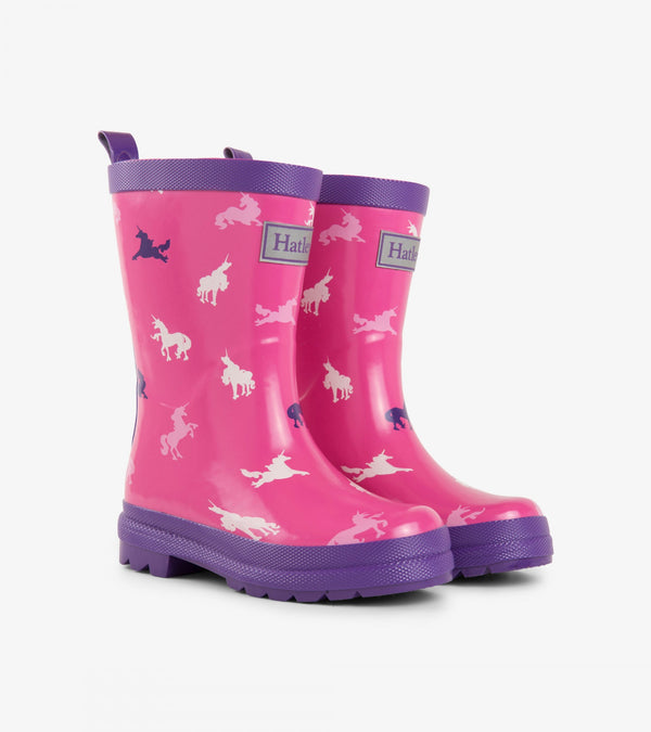 AW18 Hatley Girls Pink Unicorn Wellies
