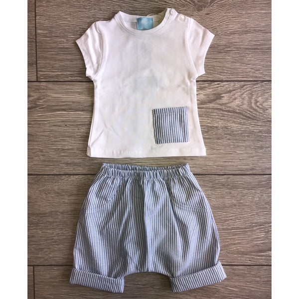 SS18 Floc Baby Boys Blue & White Stripe Set