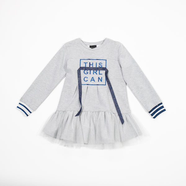 AW18 Fun & Fun Girls Grey 'This Girl Can' Dress