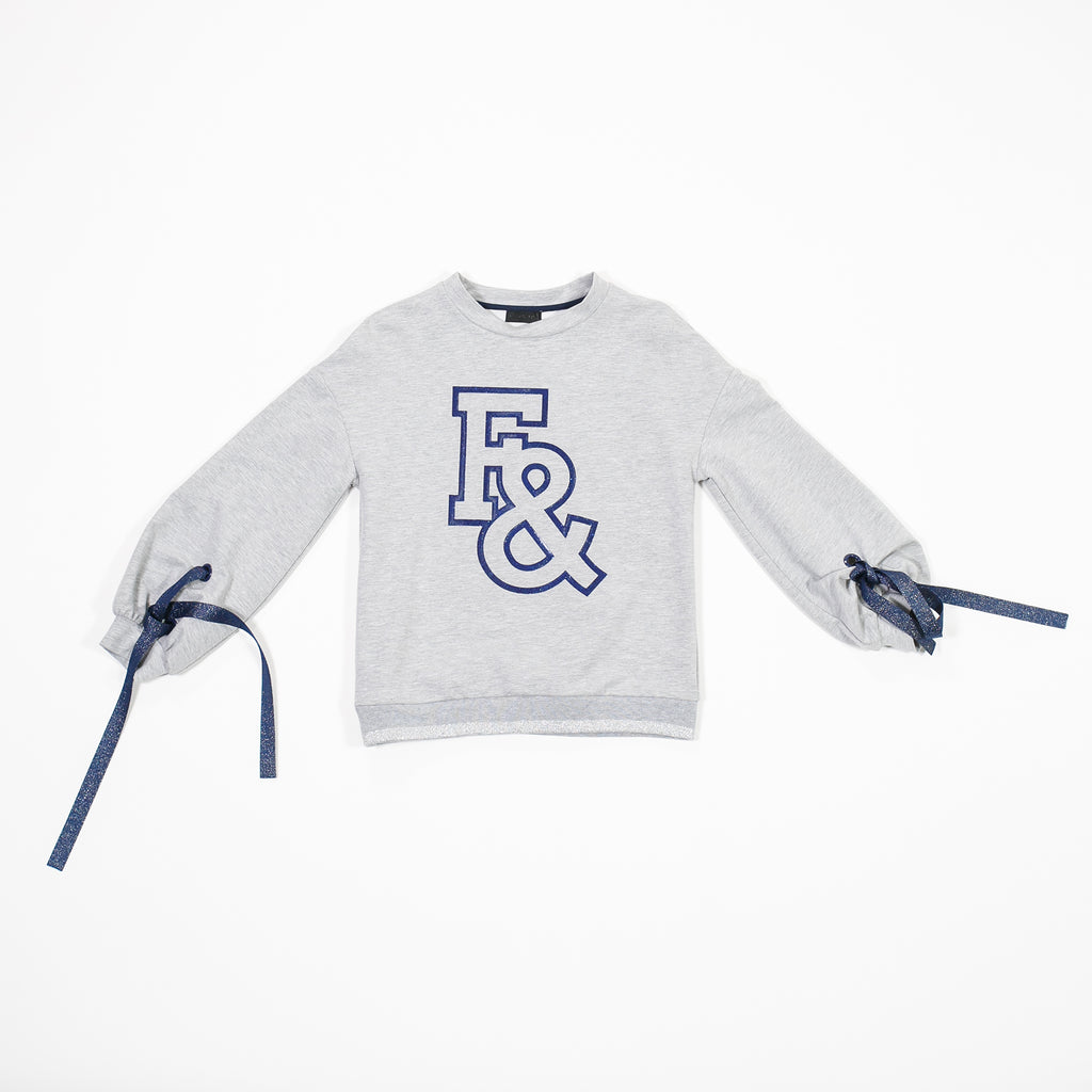 AW18 Fun & Fun Girls Grey & Blue Jumper