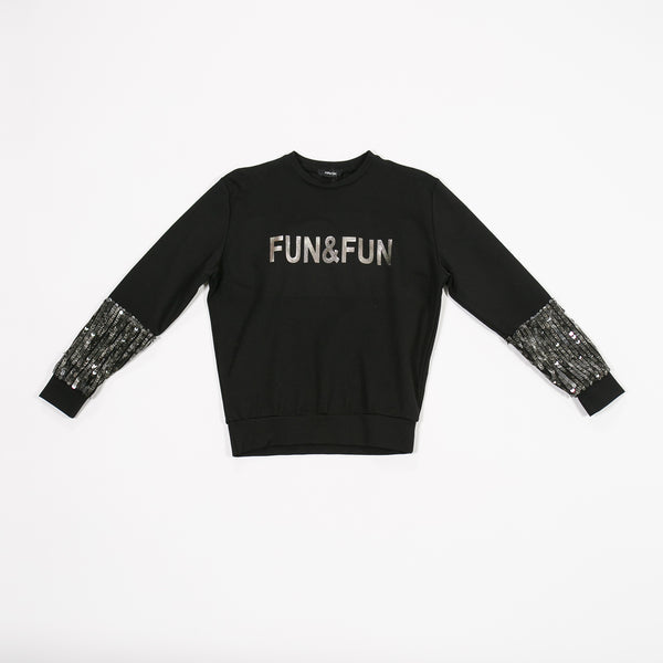 AW18 Fun & Fun Girls Black Sequin Tracksuit