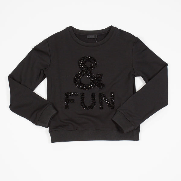 AW17 Fun & Fun Girls Black Beaded Jumper - Liquorice Kids