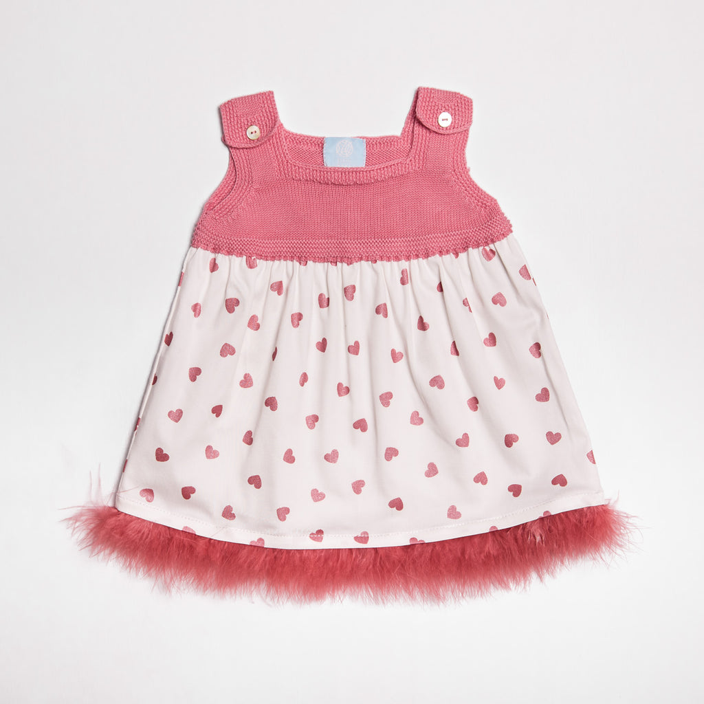 SS19 Floc Baby Girls Hearts Feather Dress