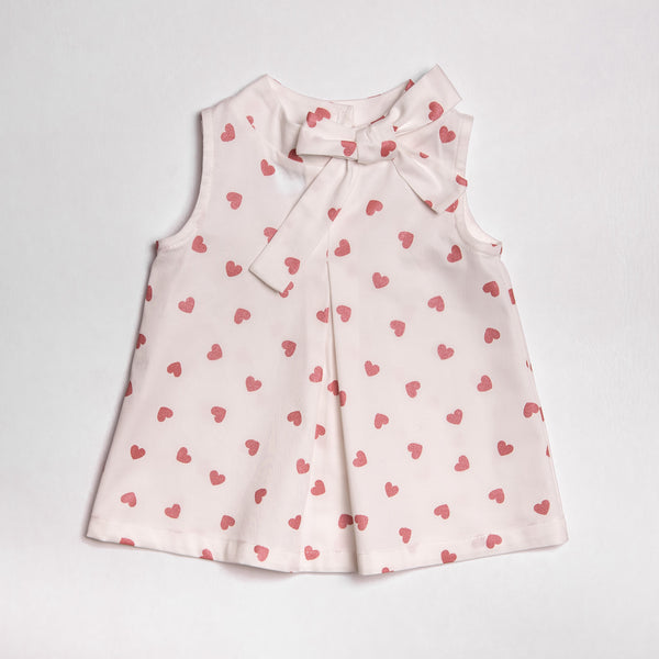 SS19 Floc Girls Hearts Bow Dress