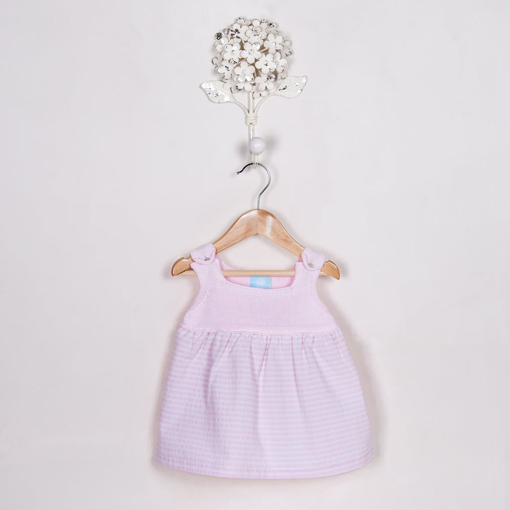 SS18 Floc Baby Girls Pink & White Dress