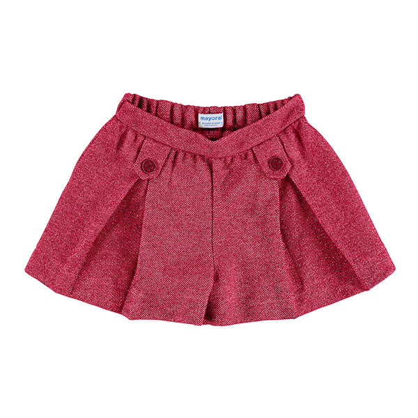 AW20 Mayoral Girls Red Pleated Shorts 4205