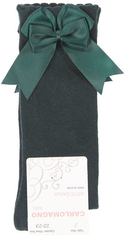 Carlomagno Bottle Green Double Bow Knee High Socks