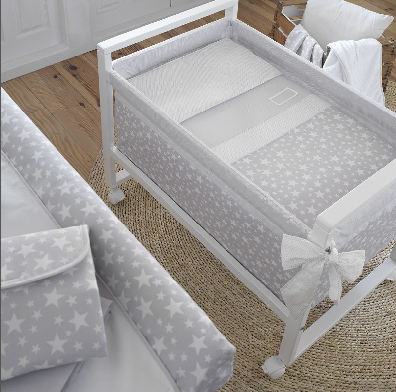 Cambrass Grey Stars Wooden Frame Crib