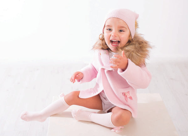 Meia Pata Girls Baby Pink Bow & Pom Pom Knee High Socks