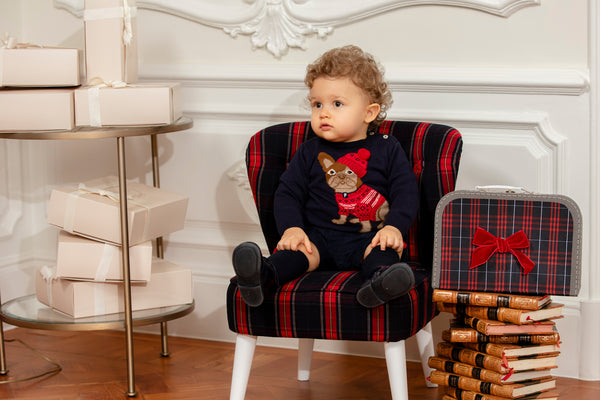 AW19 Patachou Boys Navy Pug Knitted Jumper