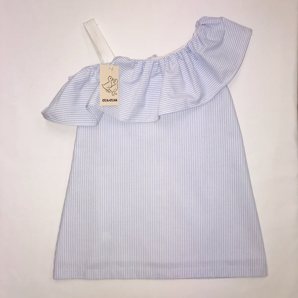 SS19 Cua Cuak Girls Lavender Blue & White Candy Stripe Dress