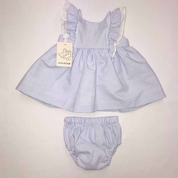 SS19 Cua Cuak Baby Girls Lavender Blue & White Candy Stripe Dress & Knickers Set