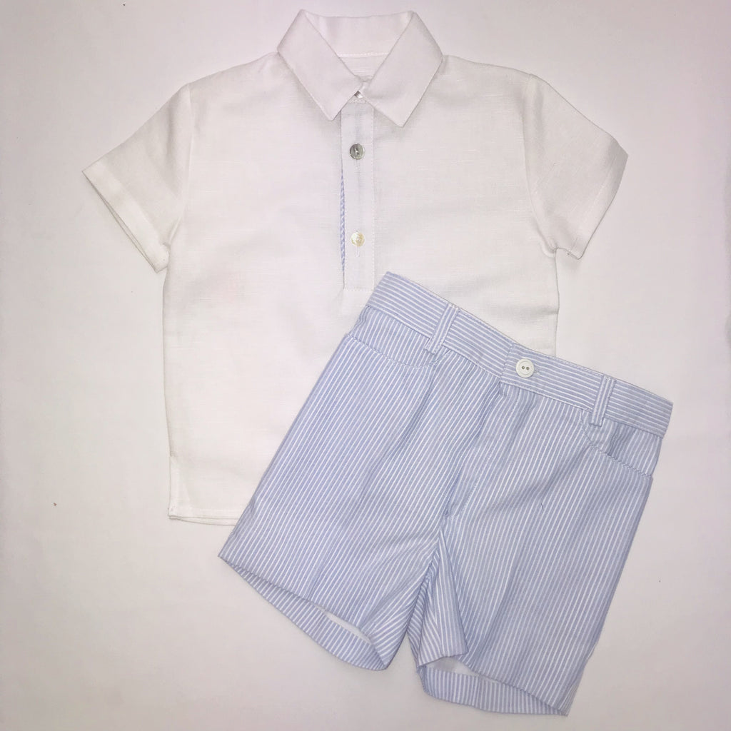 SS19 Cua Cuak Boys Lavender Blue Candy Stripe Shirt & Shorts Set
