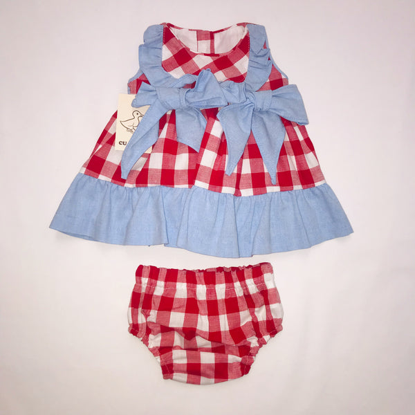 SS19 Cua Cuak Baby Girls Red & White Check Dress