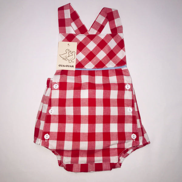 SS19 Cua Cuak Baby Red & White Check Romper