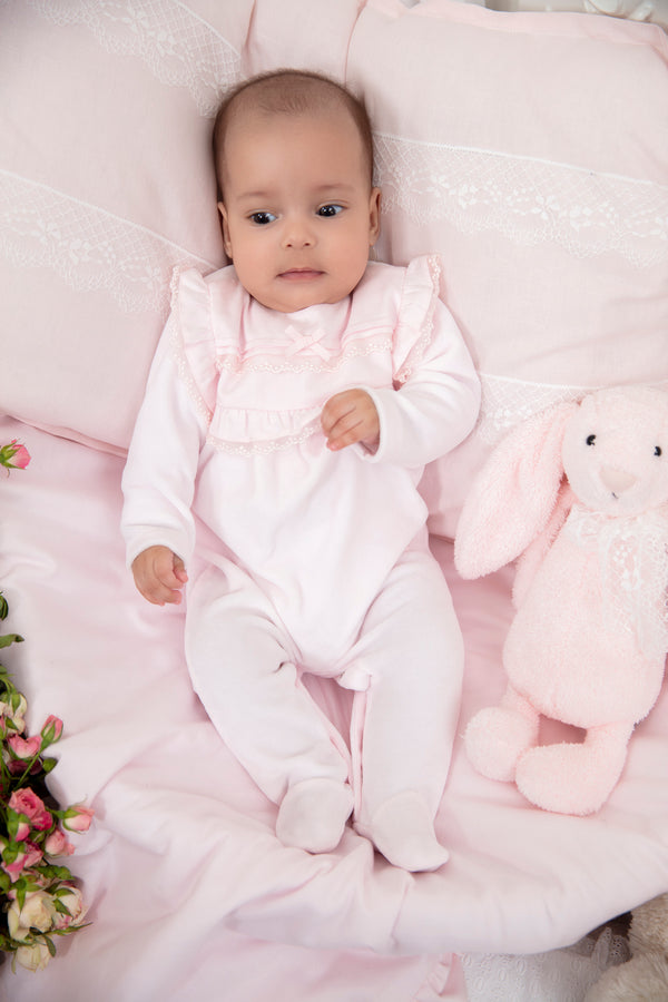 AW19 Patachou Baby Girls Pink Bow & Lace Babygrow