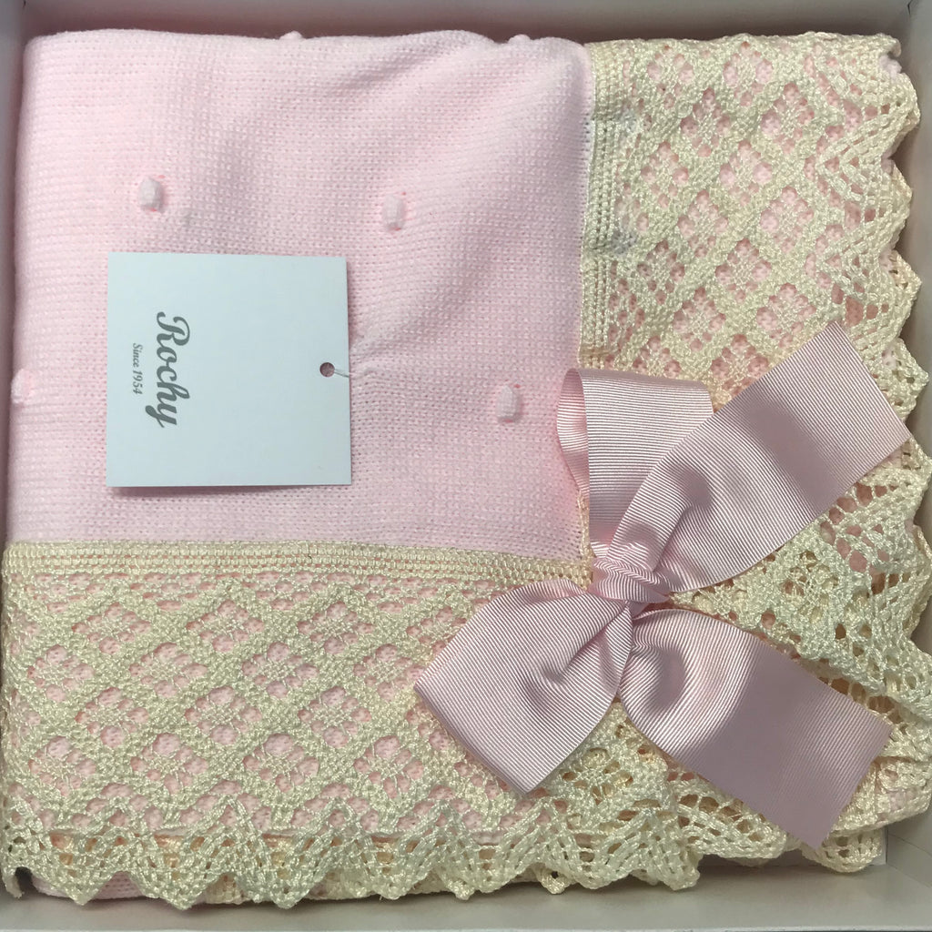 Rochy Pink & Cream Lace Baby Blanket