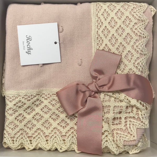 Rochy Dusky Pink & Cream Lace Baby Blanket