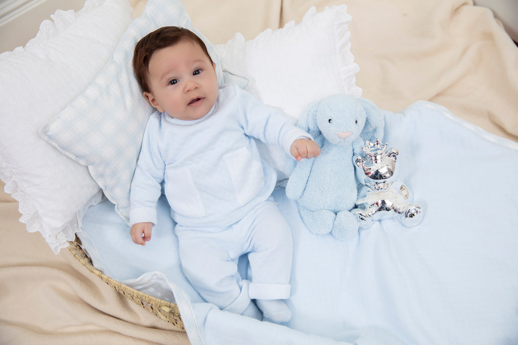 AW19 Patachou Baby Boys Blue Quilted Two-Piece Set