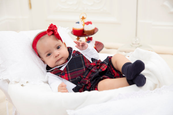 AW19 Patachou Baby Girls Tartan Romper Set