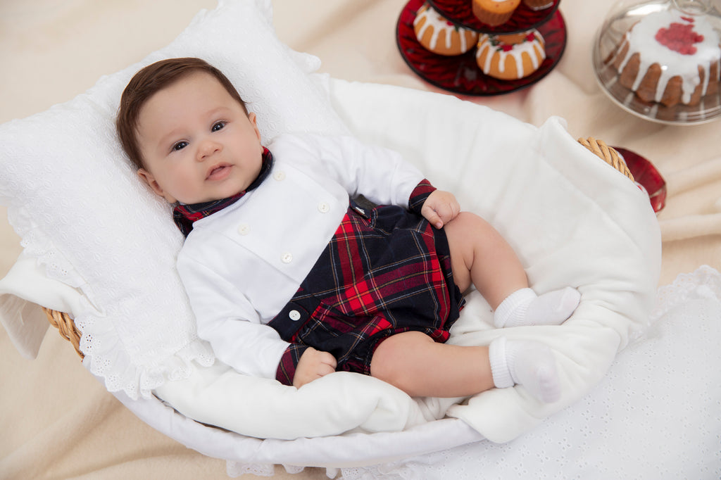 AW19 Patachou Baby Boys Red & Navy Blue Tartan Romper
