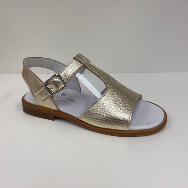 Andanines Gold Leather Sandals