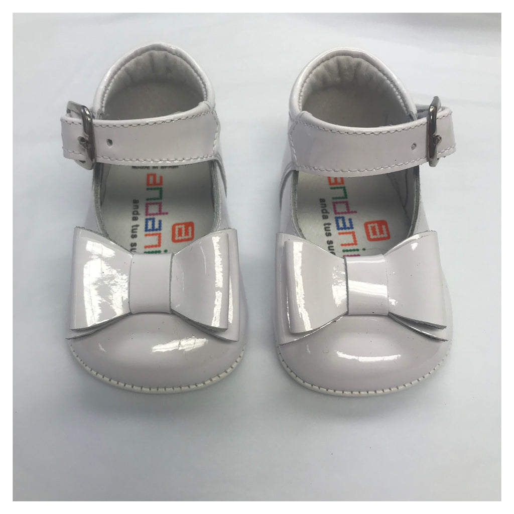 Andanines White Patent Bow Pram Shoe