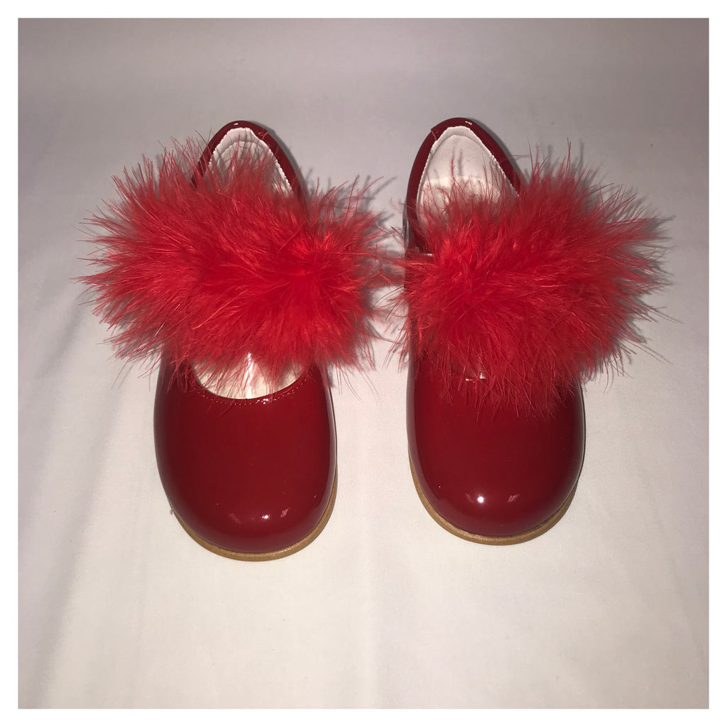 Andanines Girls Red Patent Fur Mary Janes