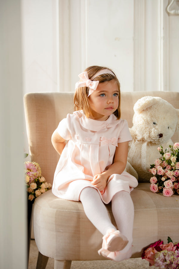 AW19 Patachou Girls Pink Velvet Bow Dress