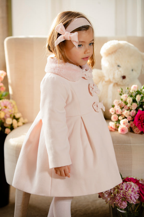 AW19 Patachou Girls Pink Bows Traditional Coat