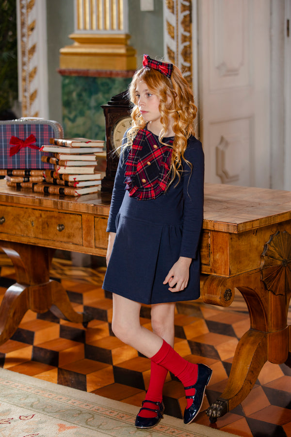 AW19 Patachou Girls Navy Blue Tartan Dress