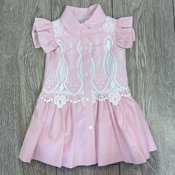 SS20 Rochy Girls Pink & White Stripe Dress