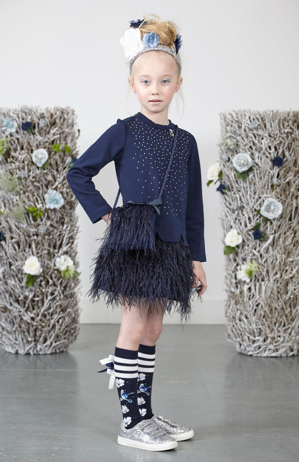 AW18 A*Dee Girls Dupa Navy Feather Dress