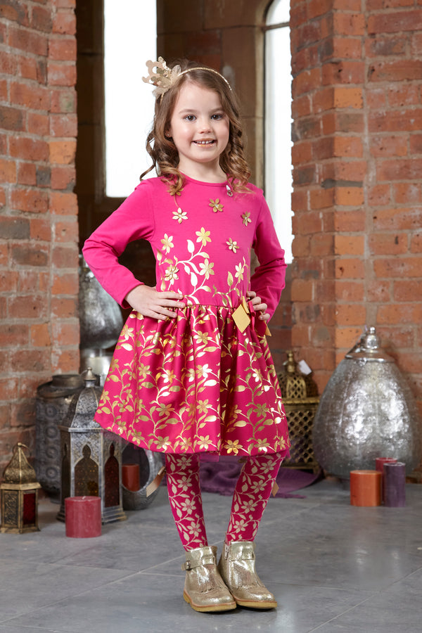AW18 A*Dee Girls Debbie Princess Pink Gold Leaf Dress
