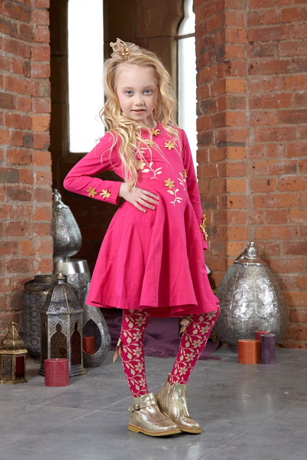 AW18 A*Dee Girls Dexi Princess Pink Gold Leaf Dress