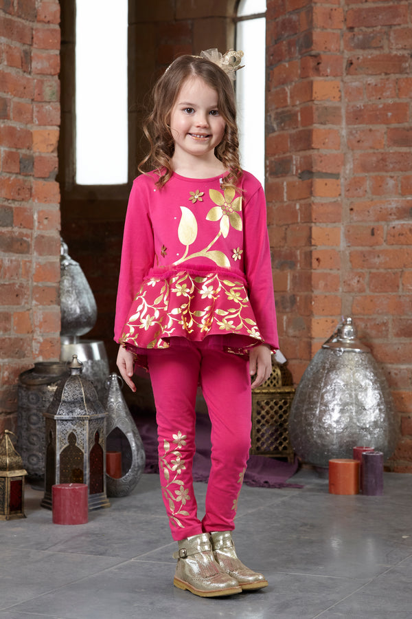AW18 A*Dee Girls Nadine Pink Princess Gold Leaf Leggings Set