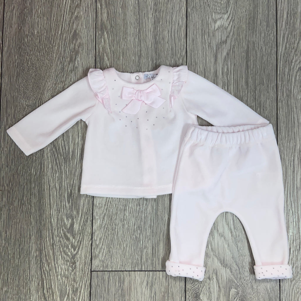 AW20 Patachou Baby Girls Velour Pink Diamante Set