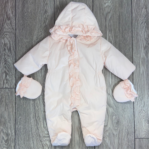 AW20 Patachou Baby Girls Pink Ruffle Pramsuit