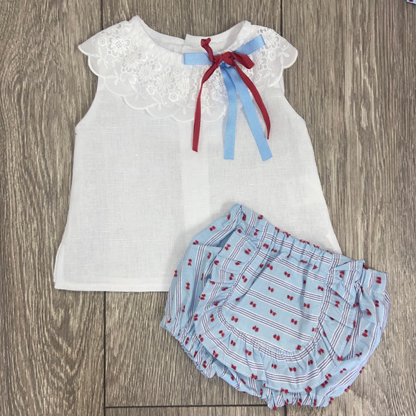 SS20 Rochy Baby Girls Raya Plumety Red & White Jam Pant Set