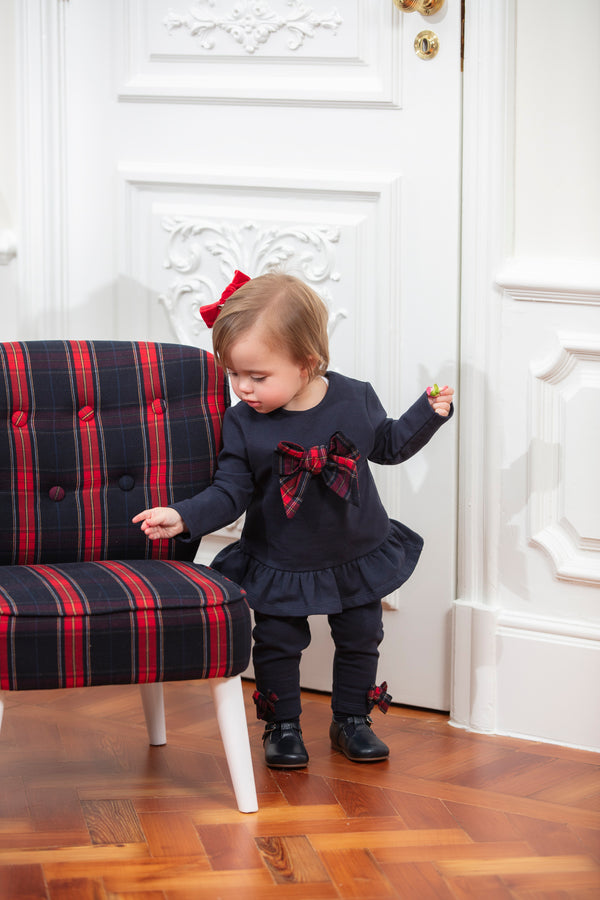 AW19 Patachou Girls Navy Blue Tartan Bow Leggings Set