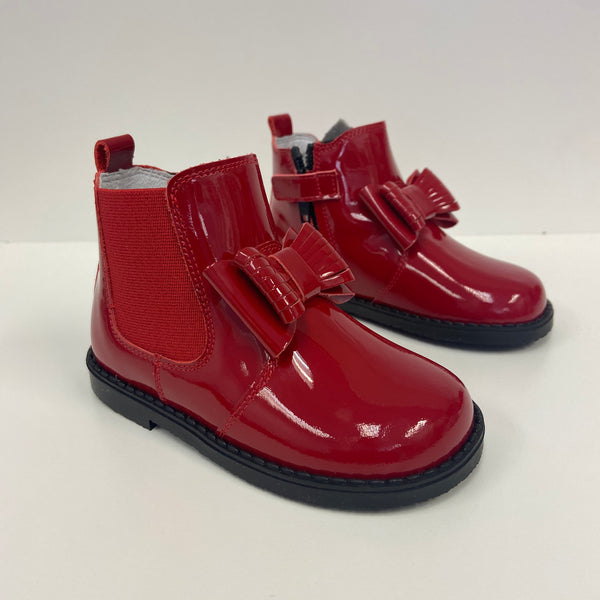 Andanines Girls Red Bow Patent Chelsea Boot