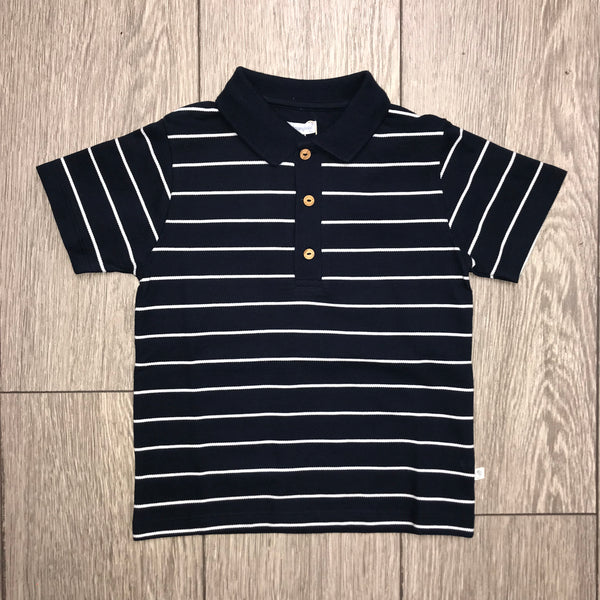 SS19 Laranjinha Boys Navy Blue & White Polo Top V9454
