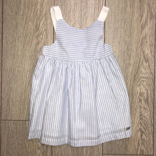 SS19 Laranjinha Girls Lavender Blue & White Stripe Bow Dress V9500