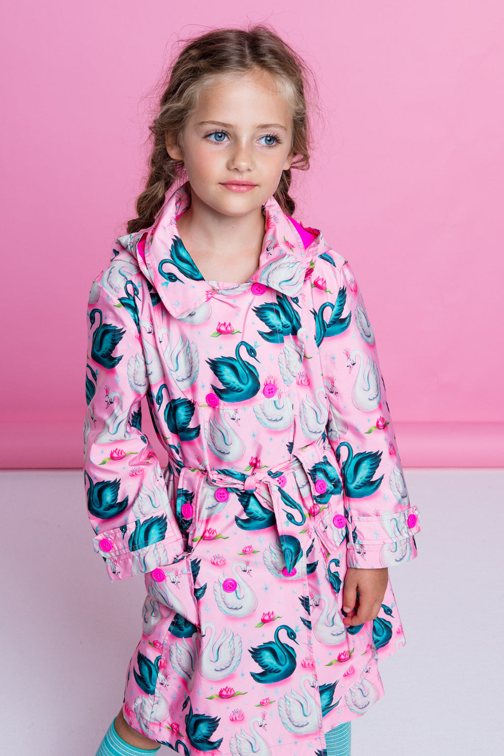 SS19 Mim-Pi Girls Pink Swan Raincoat 209