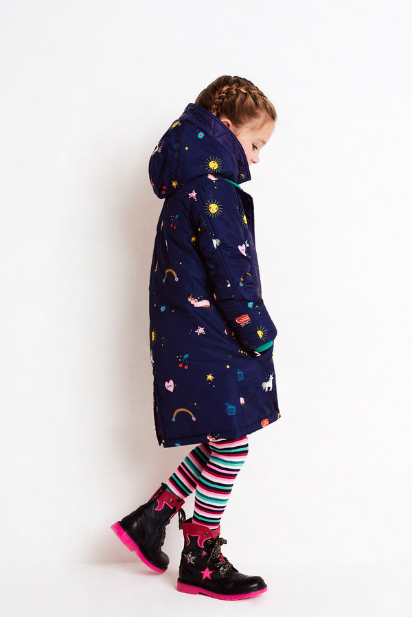 AW18 Mim-Pi Girls Navy Unicorn & Rainbow Coat 3-12 Years 036